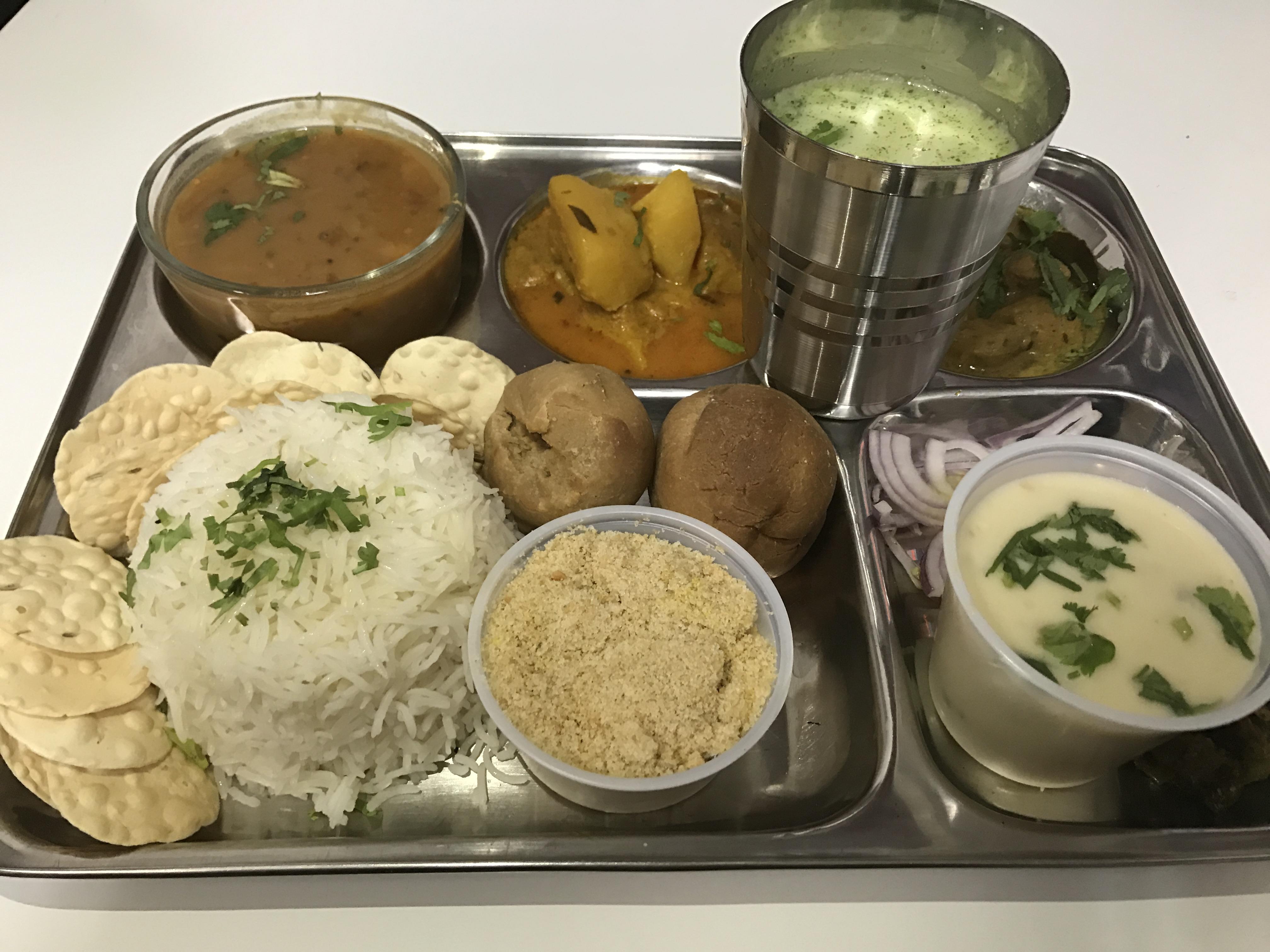Rajasthani Thali with Daal, Baati, Choorma and Rice